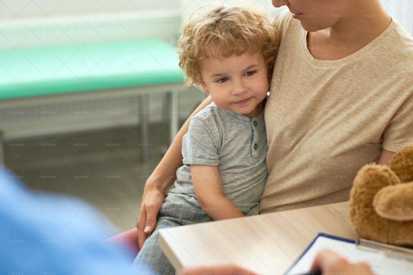Cute Little Boy In Doctors Office: Stock Photos