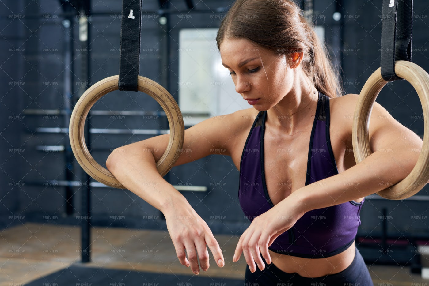 Tired Young Woman Training On...: Stock Photos