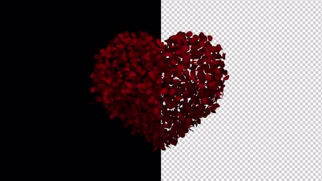 Heart Animation of Rose Petals: Stock Motion Graphics