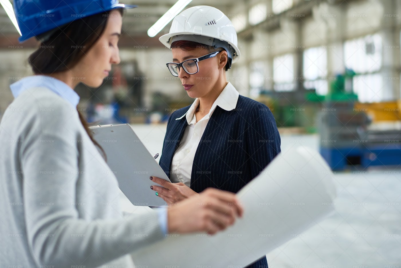 Concentrated Female Architect...: Stock Photos