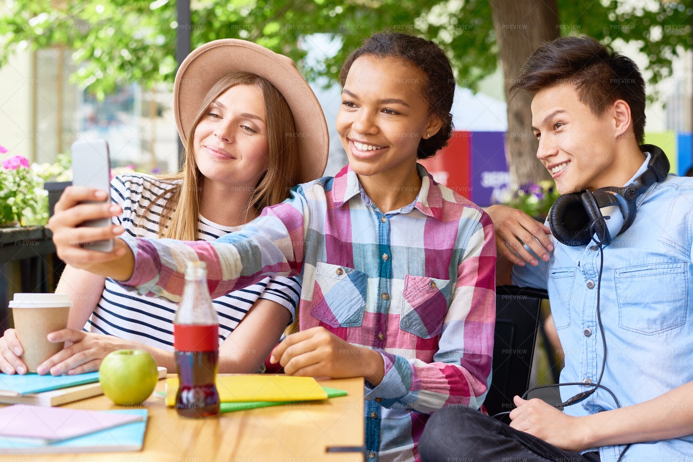 Joyful Young People Taking Selfie...: Stock Photos