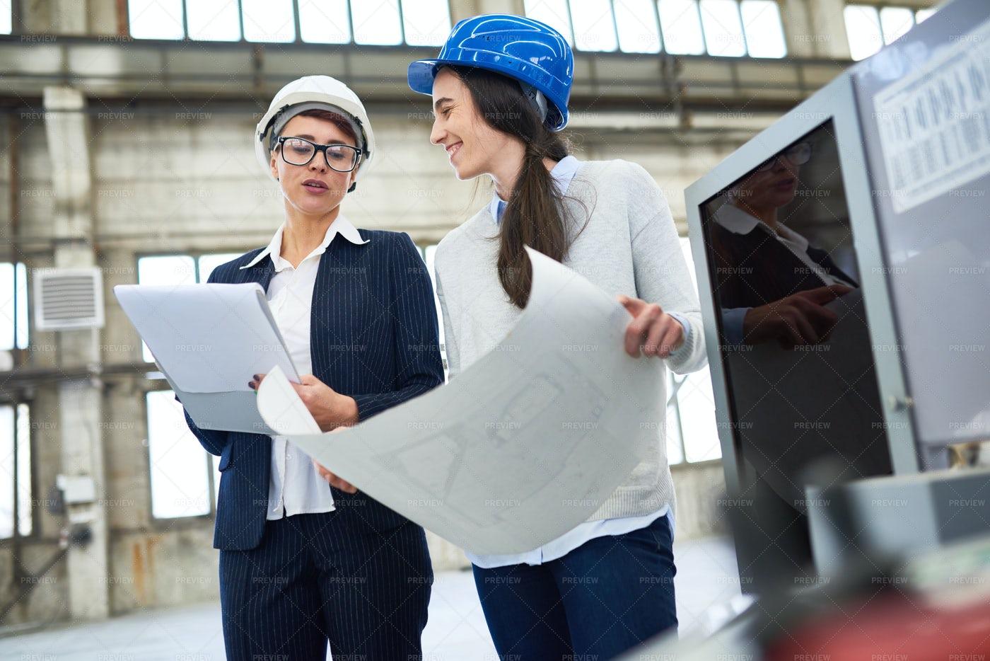 Positive Female Engineers...: Stock Photos