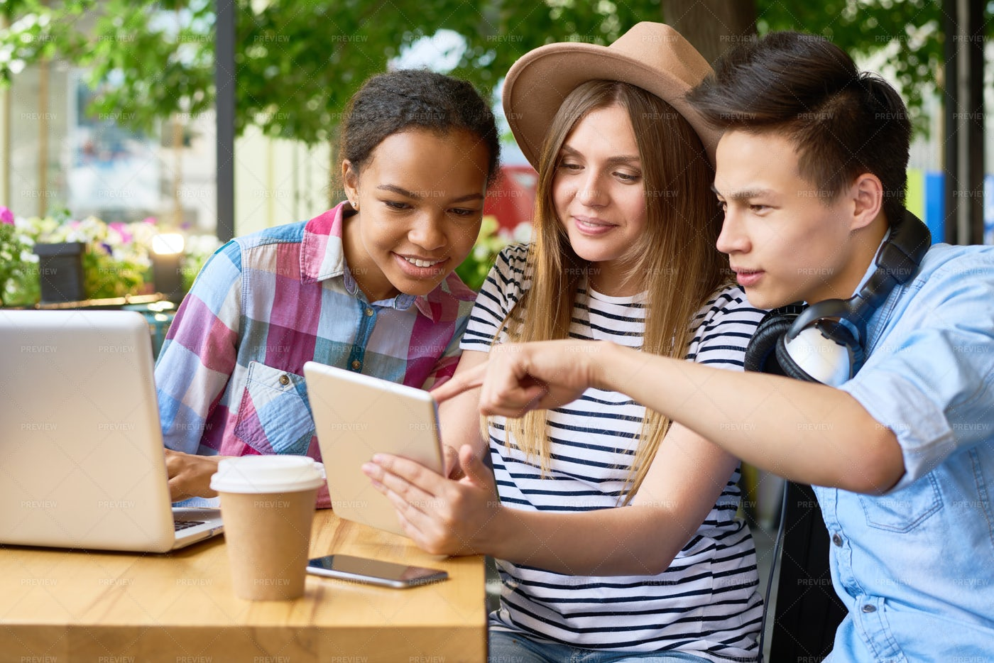 Young People Using Modern Devices...: Stock Photos