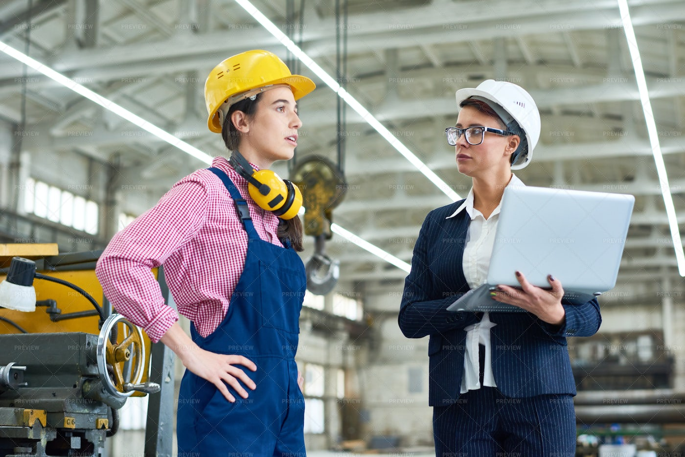 Strict Inspector Testing Factory...: Stock Photos