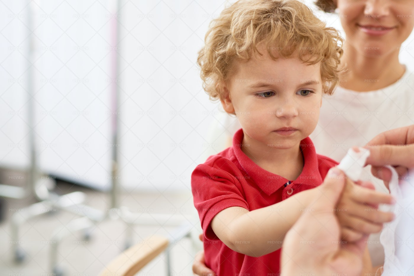 Little Boy With Injured Finger: Stock Photos