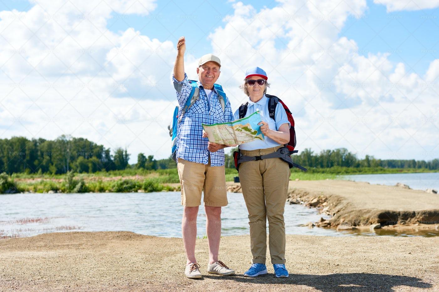 Couple Of Active Senior Travelers...: Stock Photos