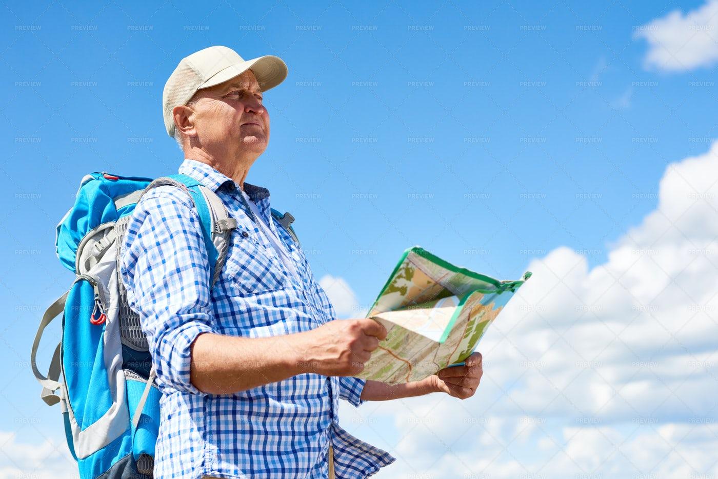 Senior Man Enjoying Hiking Trip: Stock Photos