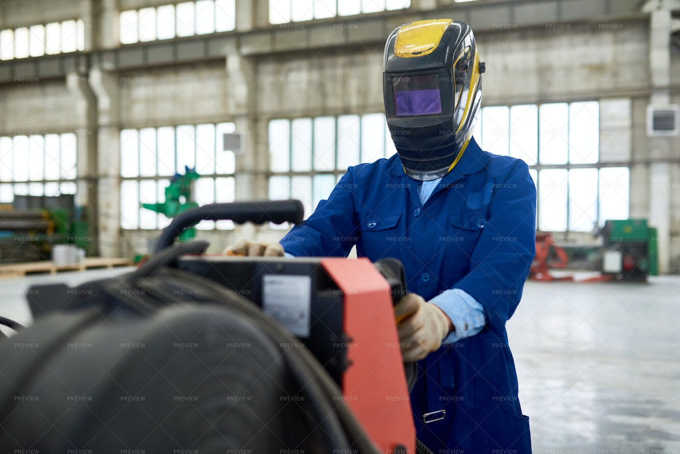 Factory Welder In Mask Setting...: Stock Photos