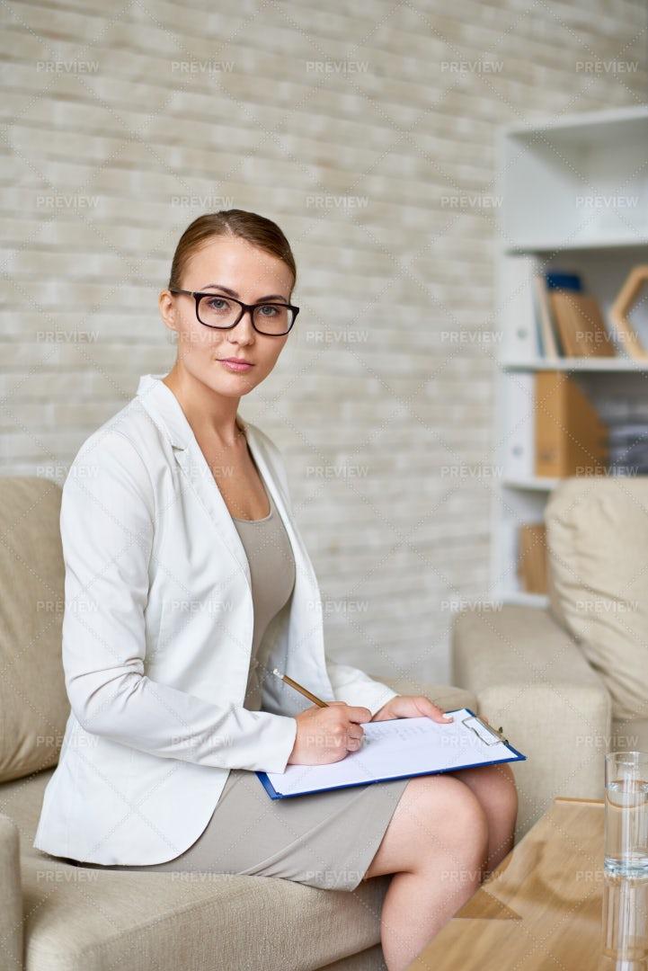 Beautiful Psychiatrist  In Office: Stock Photos