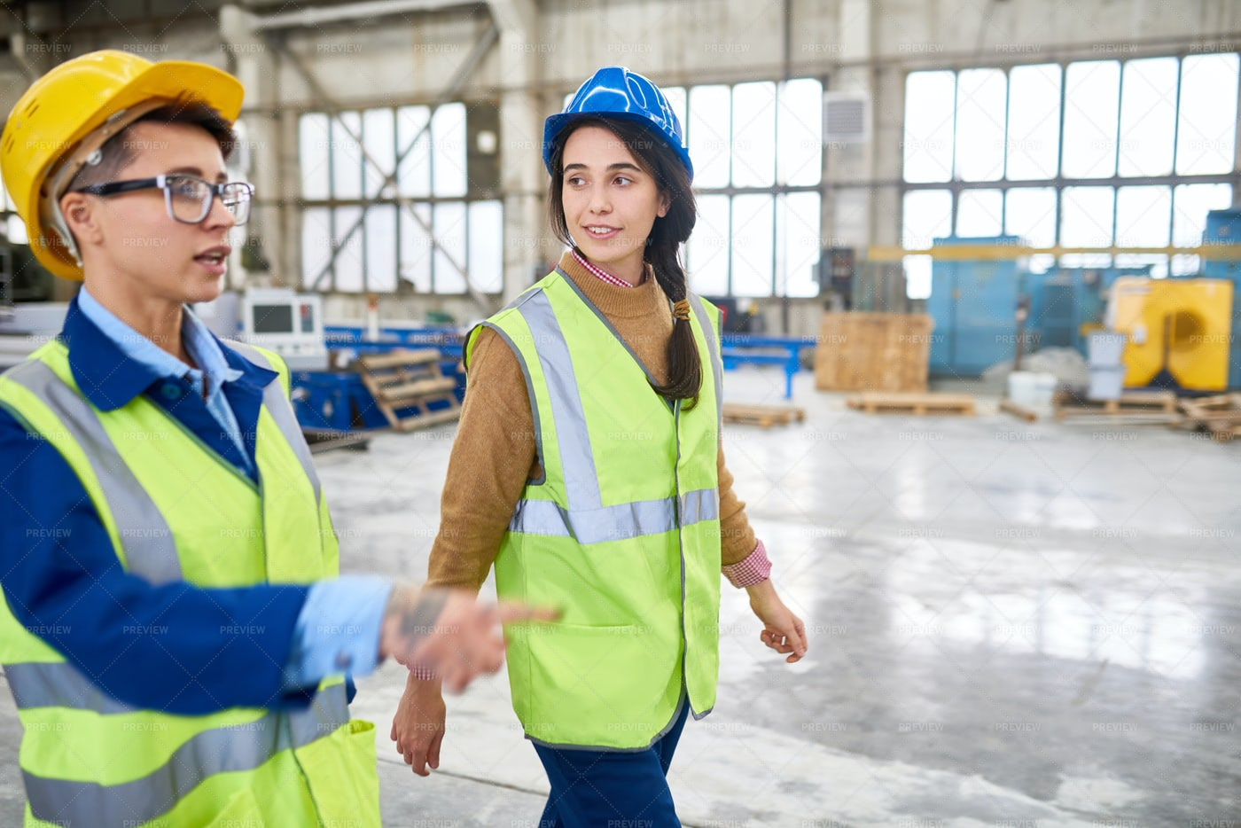 Forewoman Showing Construction Site...: Stock Photos
