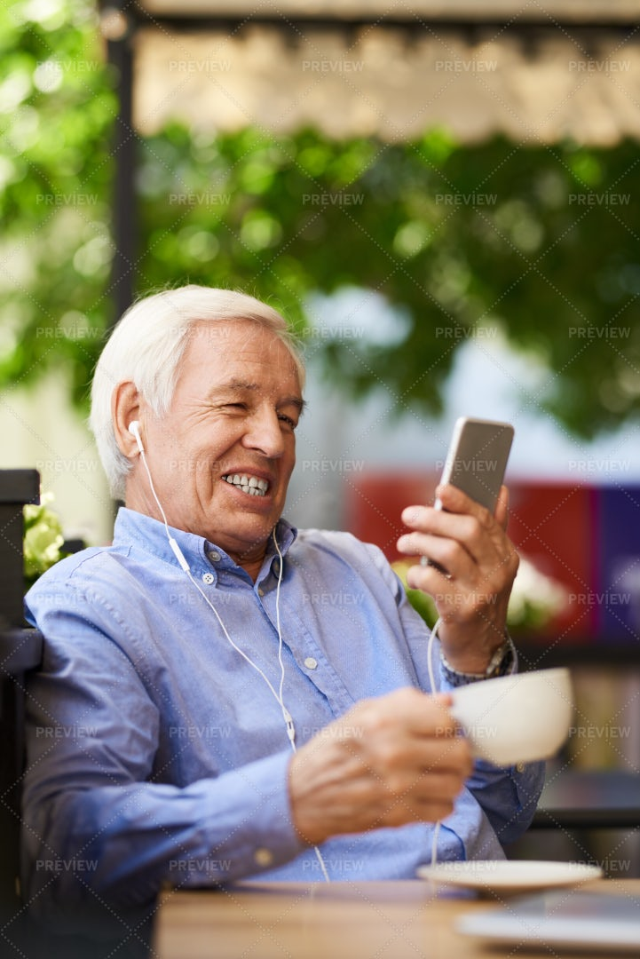 Modern Grandpa Video Calling...: Stock Photos
