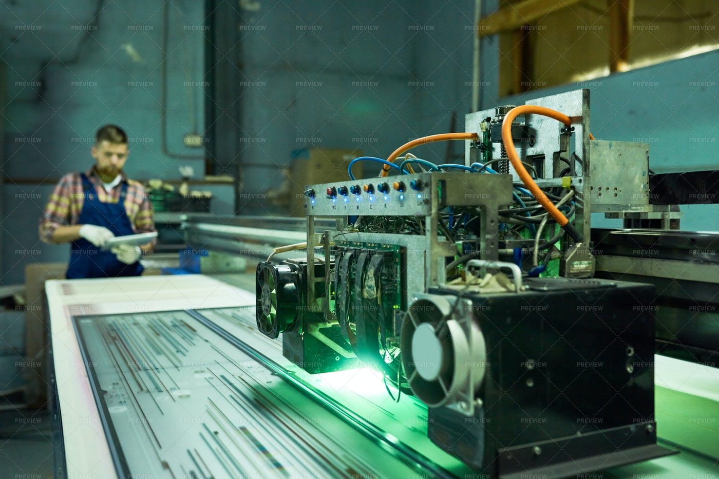 Modern CNC Equipment At Factory: Stock Photos