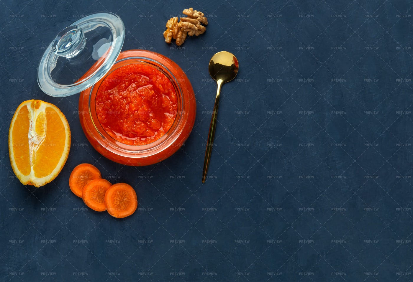 Carrot Jam In A Jar: Stock Photos