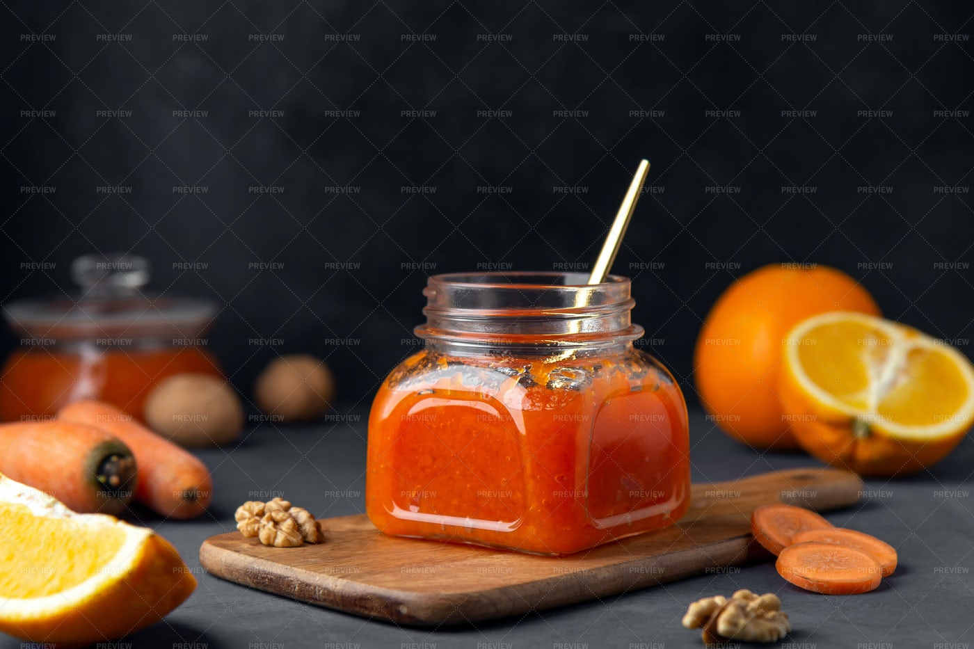 Glass Jar Of Carrot Jam: Stock Photos