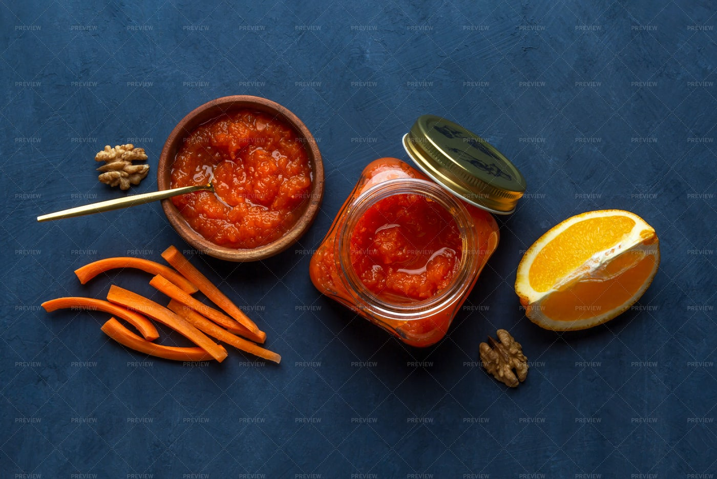 Vegetable Jam With Carrots: Stock Photos