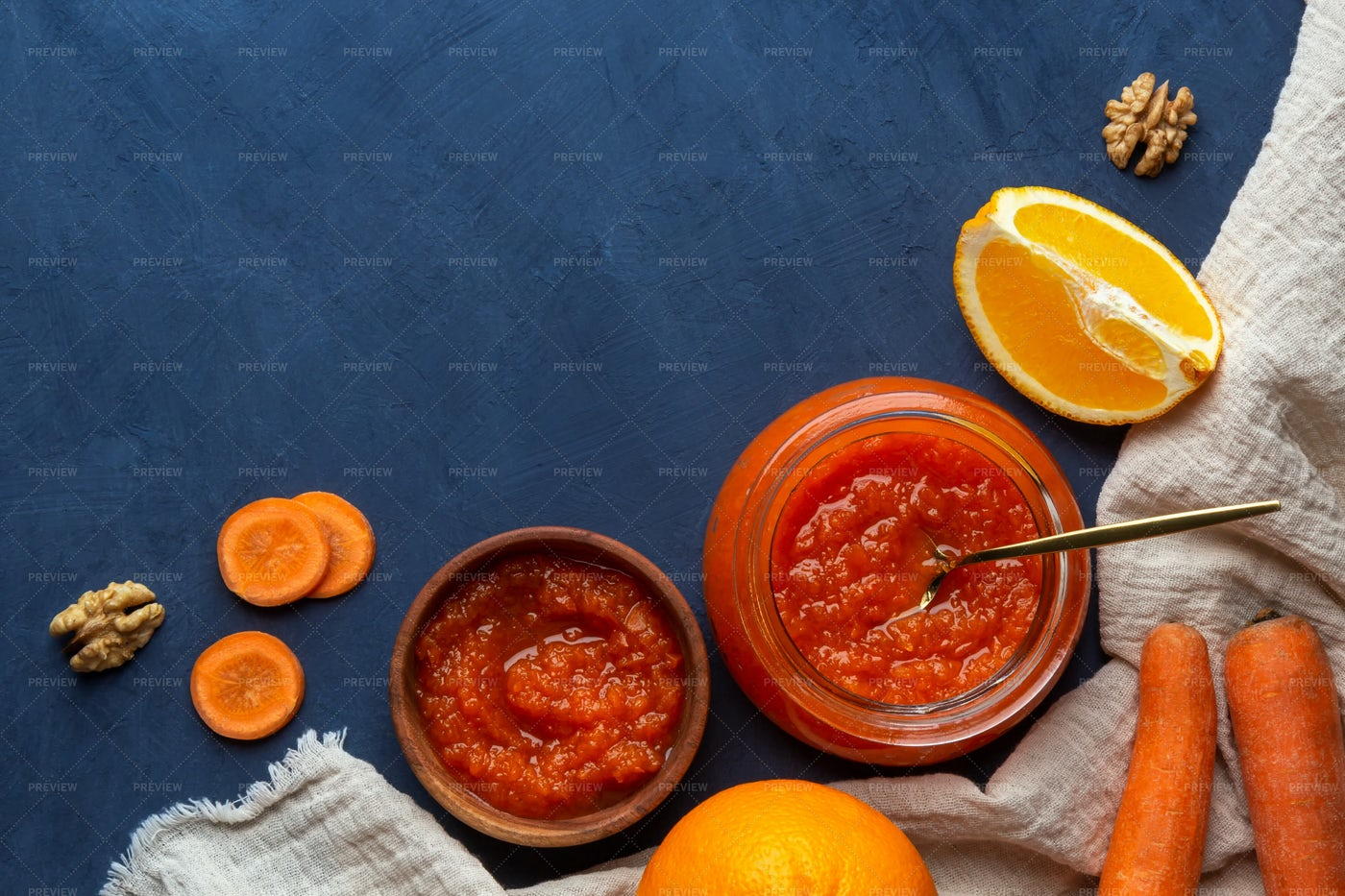 Carrot Jam And Ingredients: Stock Photos