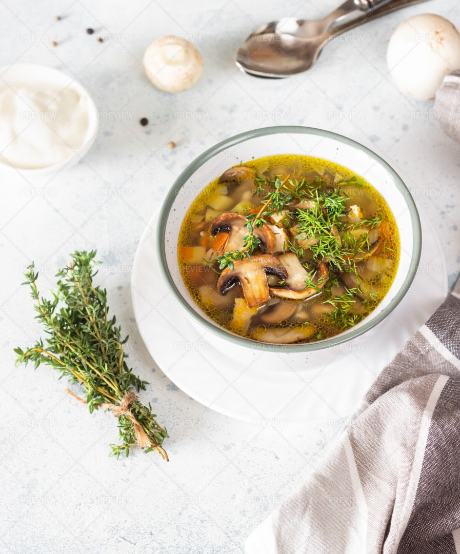 Soup With Mushroom And Barley: Stock Photos