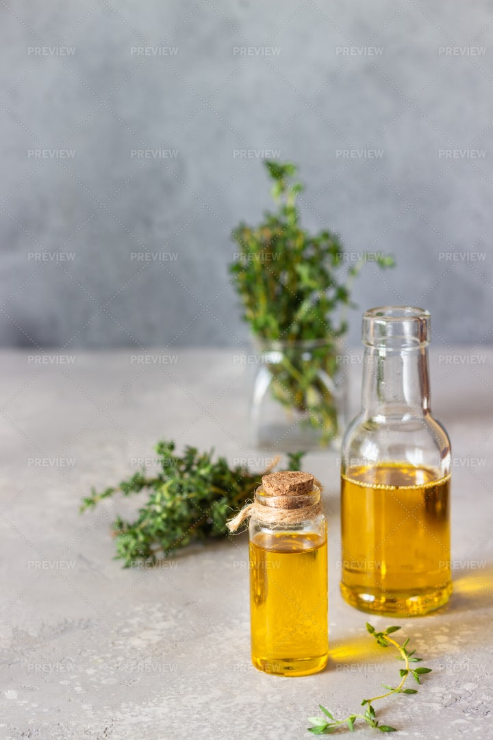 Thyme Oil And Herb: Stock Photos