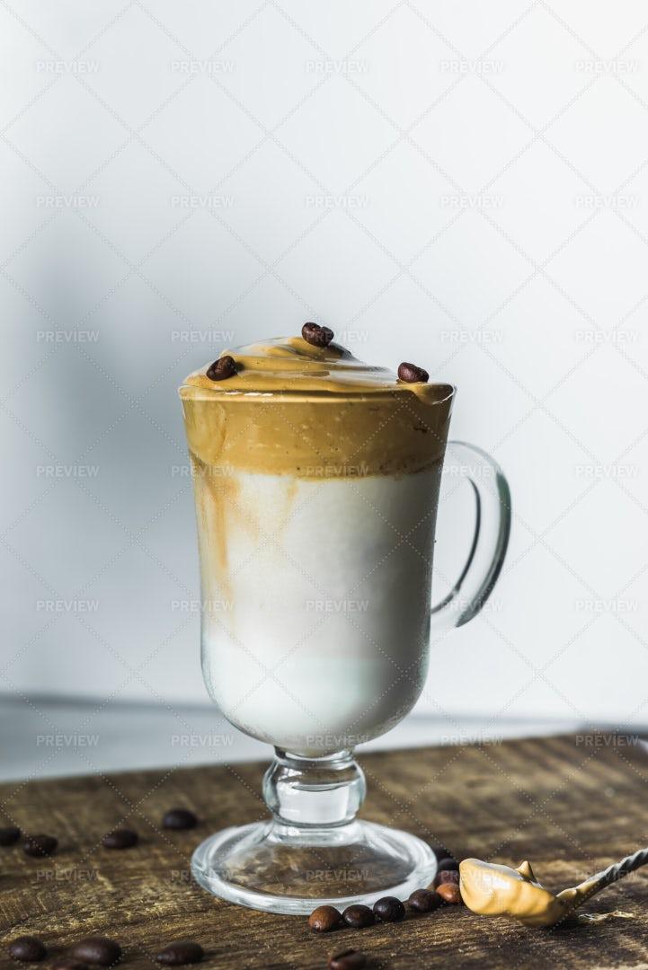 An Aesthetic Dalgona Coffee: Stock Photos