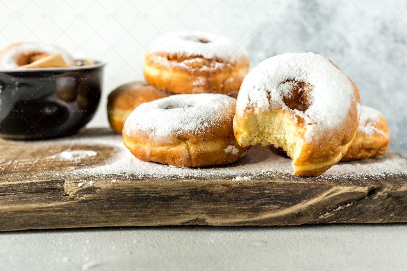Homemade Sugared Donuts: Stock Photos