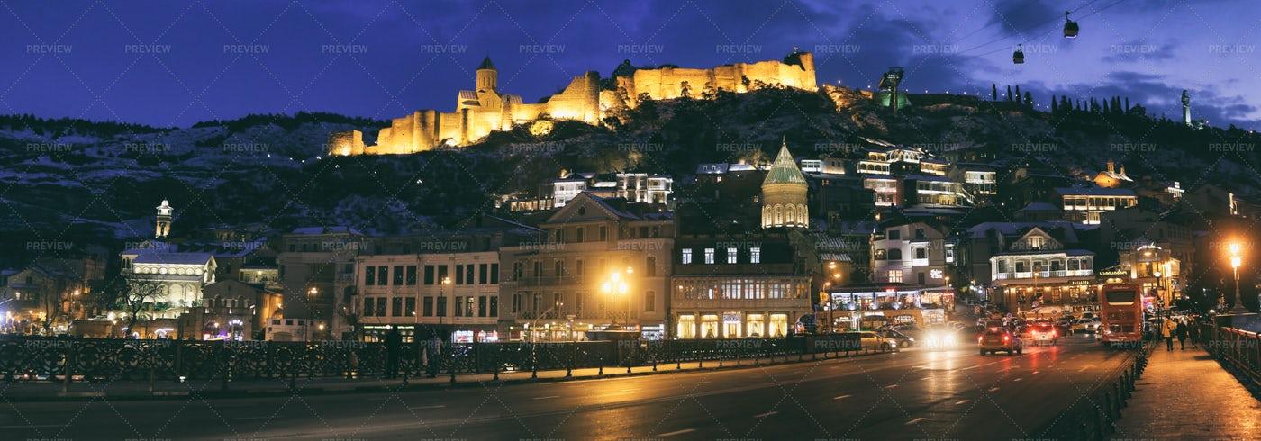 Tbilisi At Night: Stock Photos
