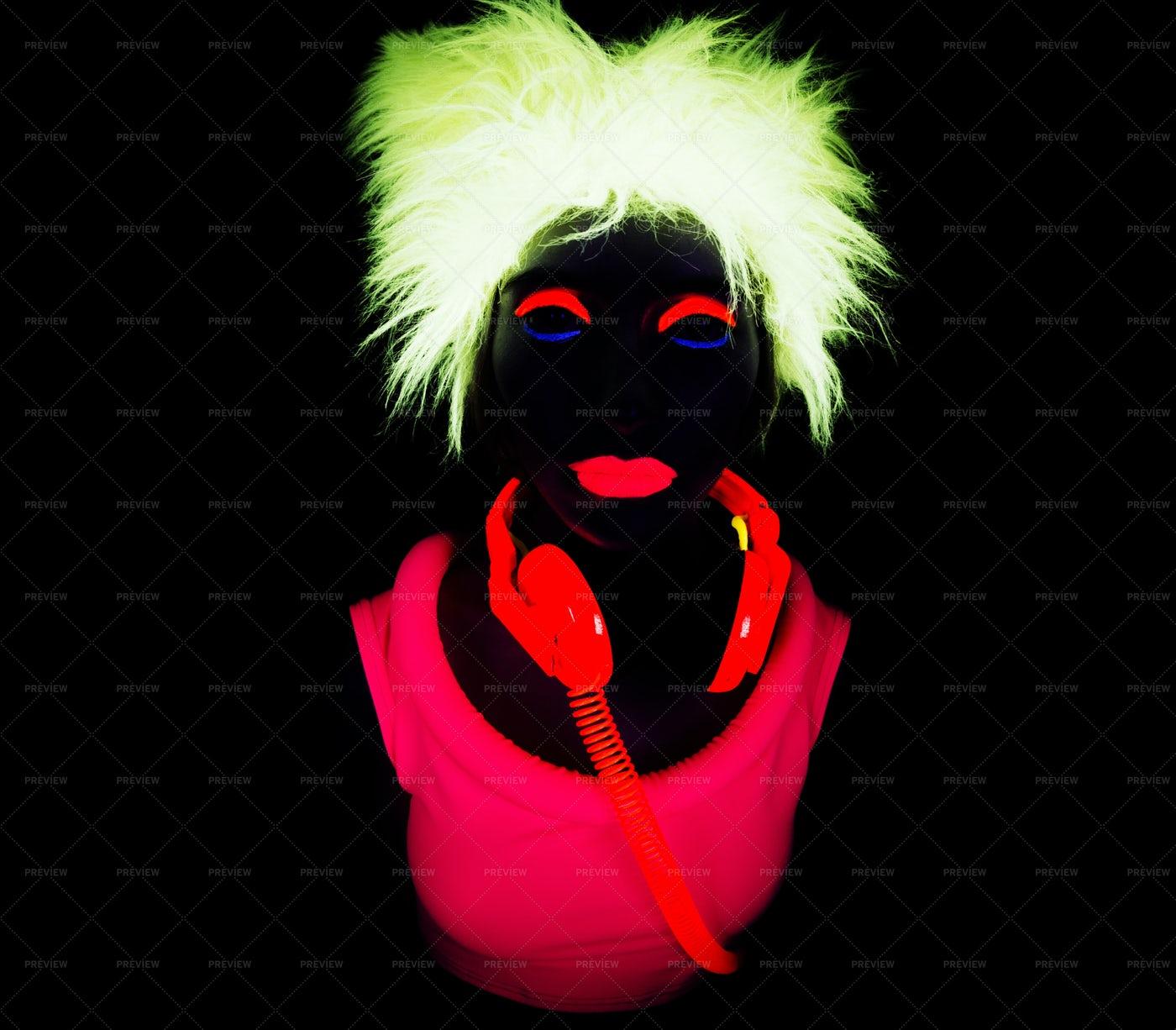 Neon Uv Glow Woman: Stock Photos