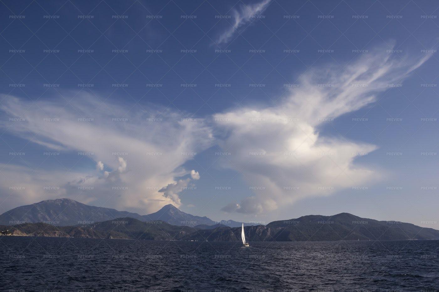Yacht Sails At Sea: Stock Photos