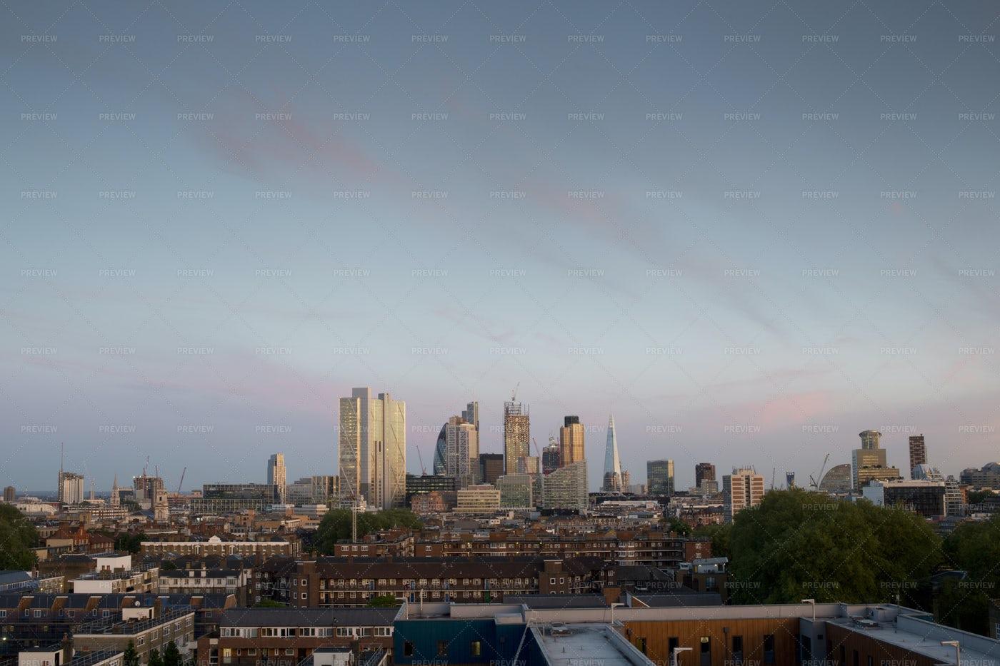 London Skyline From A Distance: Stock Photos