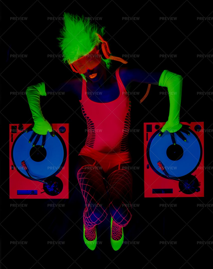 UV DJ Lies Down: Stock Photos