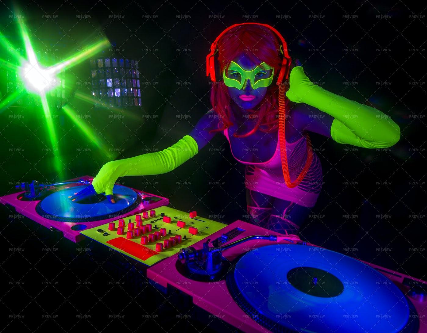 DJ In Neon Clothing: Stock Photos