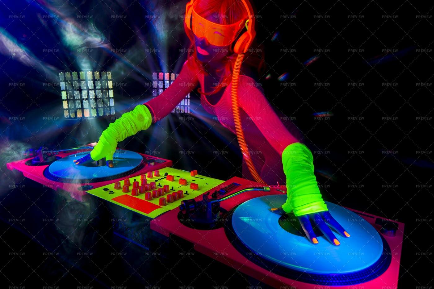 A Neon DJ: Stock Photos