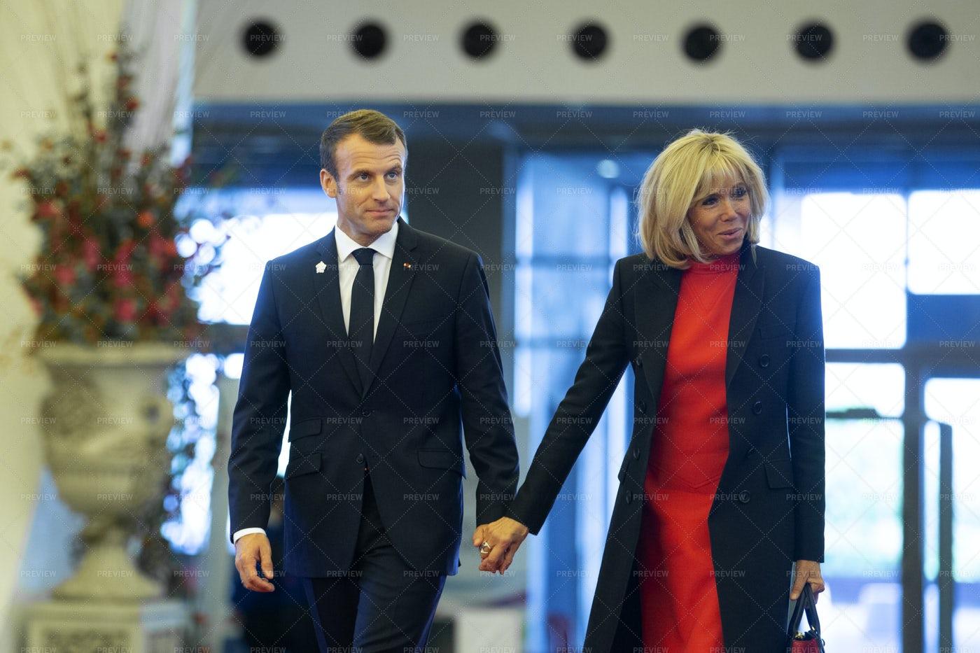 Emmanuel Macron And Wife: Stock Photos