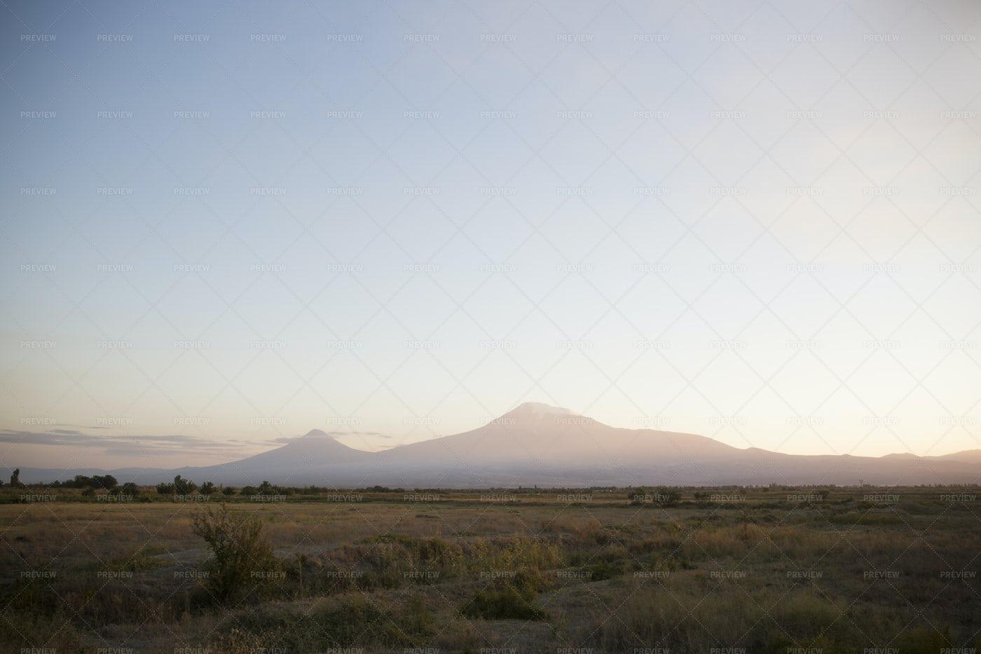 Mountain Ararat  On Sunset: Stock Photos