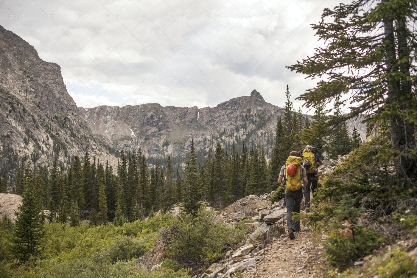 Backpacking Through Mountains: Stock Photos