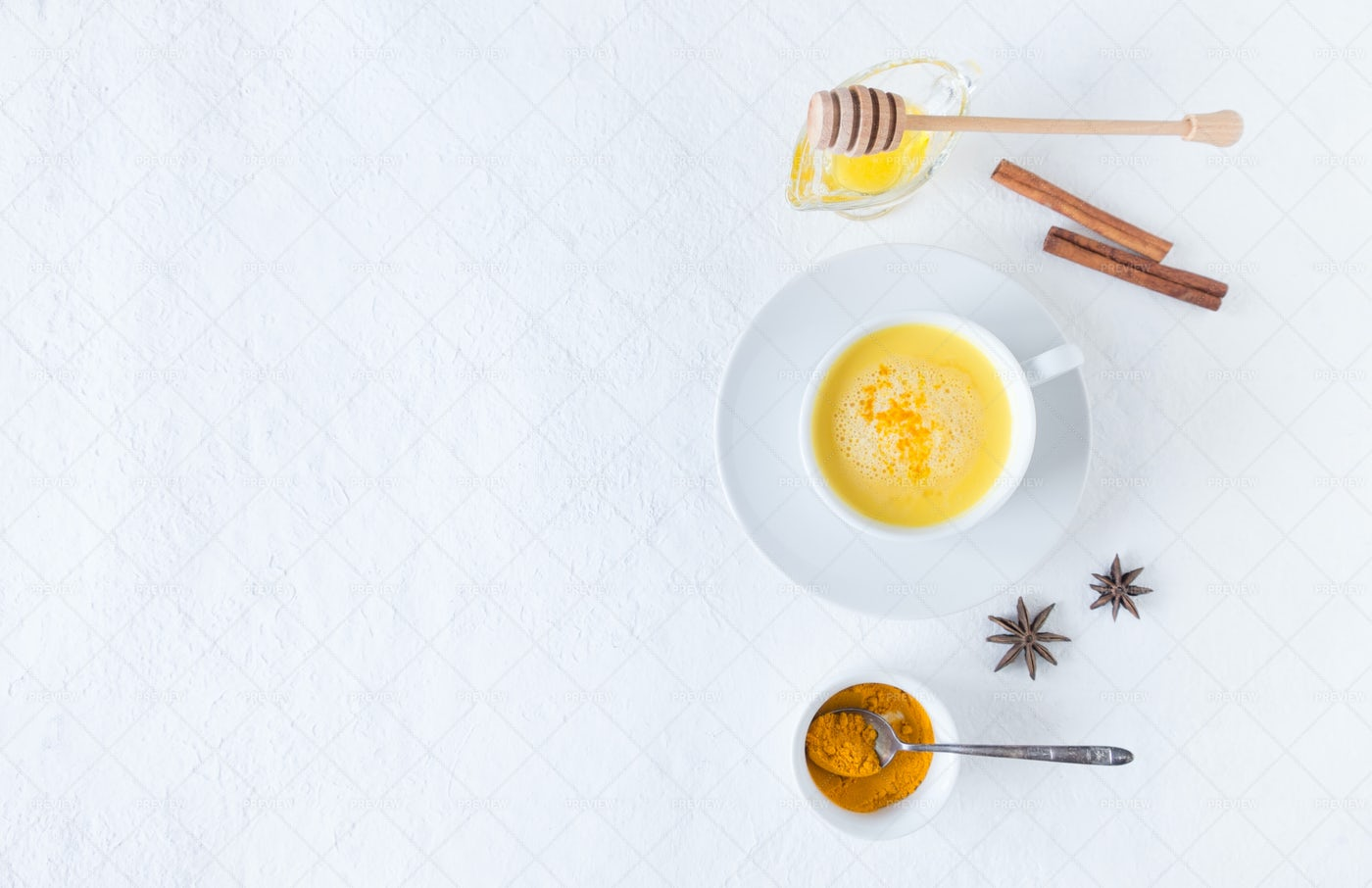 Golden Milk And Ingredients: Stock Photos