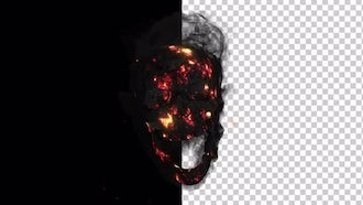 Smoldering Smoking Skull With Alpha Channel: Motion Graphics