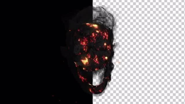 Smoldering Smoking Skull With Alpha Channel: Stock Motion Graphics