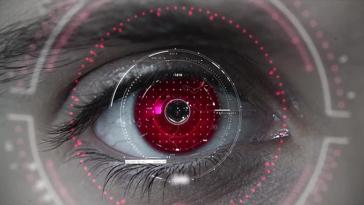 Macro Red HUD Eye: Stock Motion Graphics