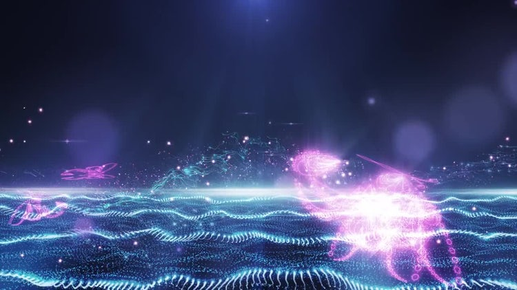 Abstract Blue-Pink Field With Flying Butterfly: Stock Motion Graphics