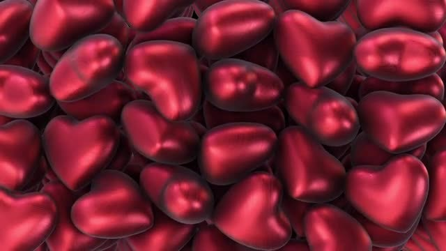 Floating Red Hearts Background: Stock Motion Graphics