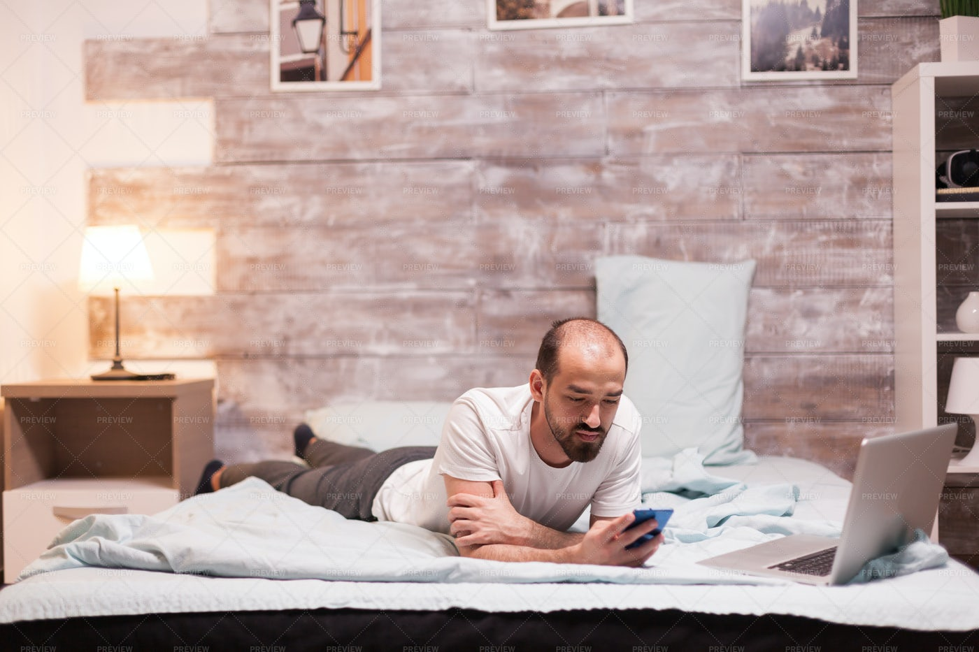 Texting Before Bed: Stock Photos