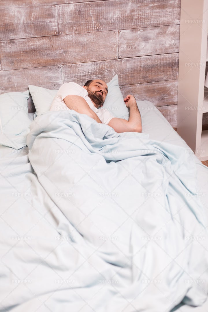 Resting In Comfortable Bed: Stock Photos