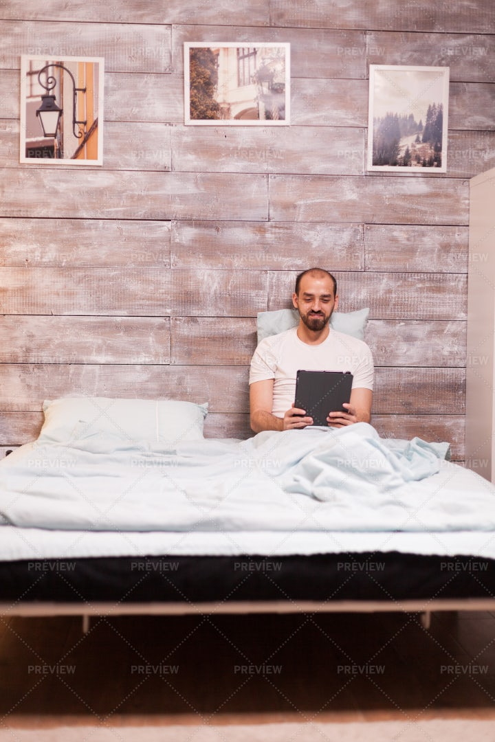Using Tablet Before Bedtime: Stock Photos