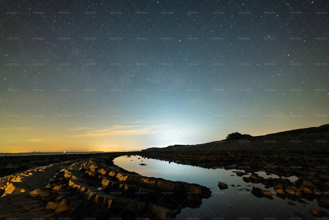 Kilve Beach At Night: Stock Photos
