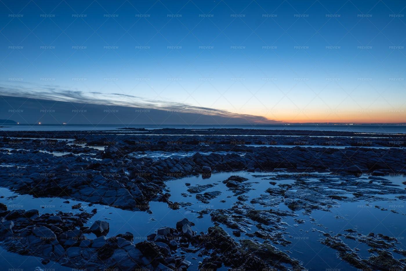 Kilve Beach At Dusk: Stock Photos