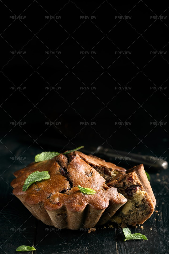 Chocolate Cake With Mint: Stock Photos