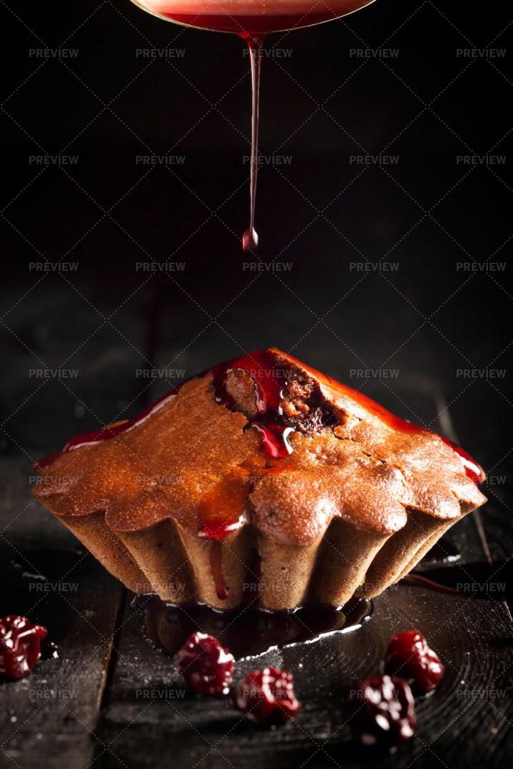 Chocolate Cake With Cherry Jam: Stock Photos