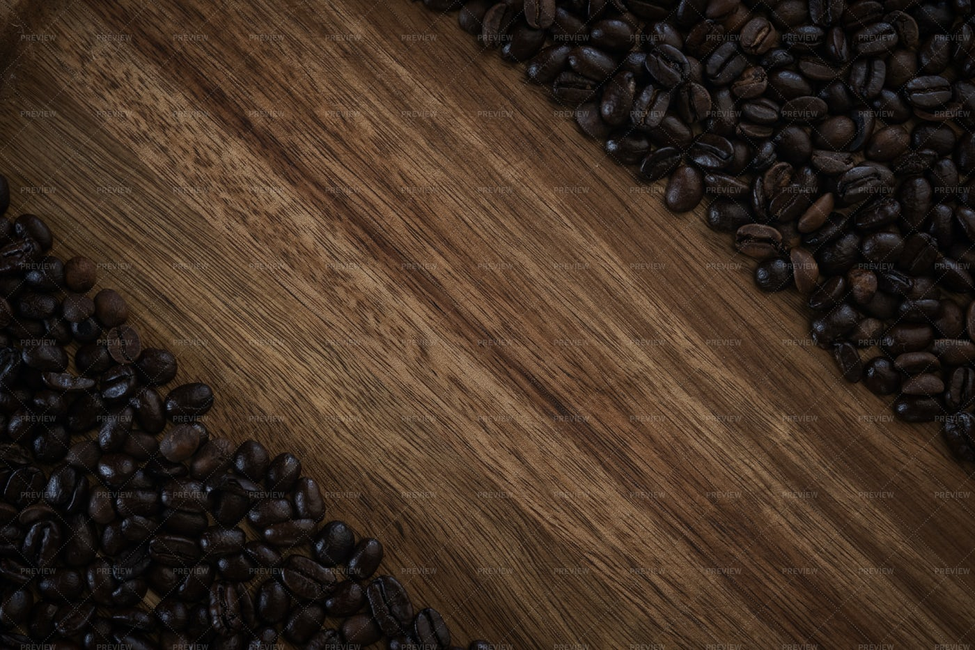 Coffee Beans On Wood: Stock Photos