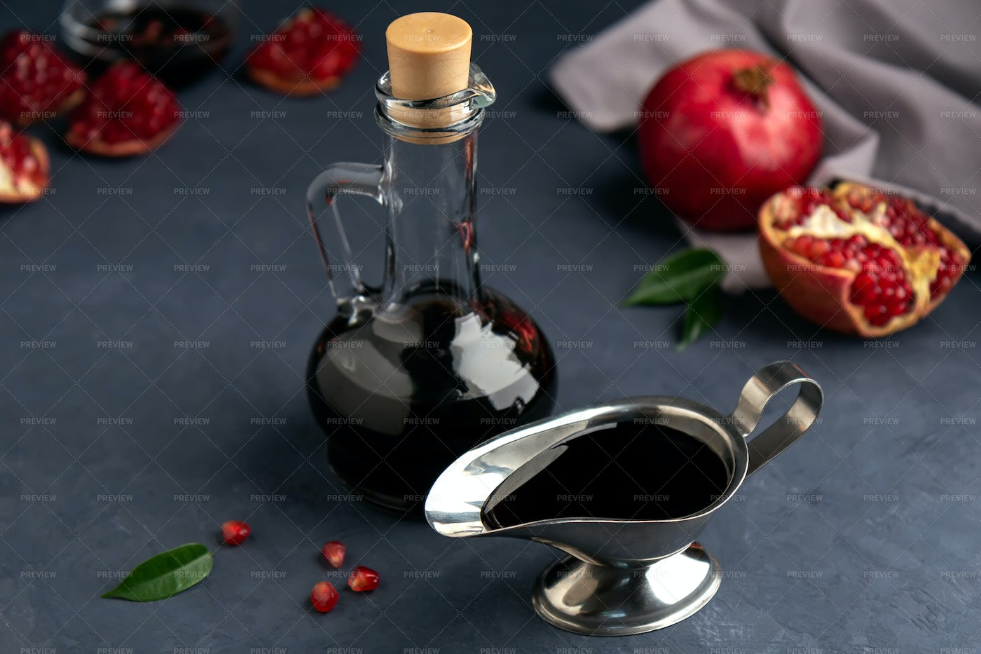 Pomegranate Sauce In A Bottle: Stock Photos