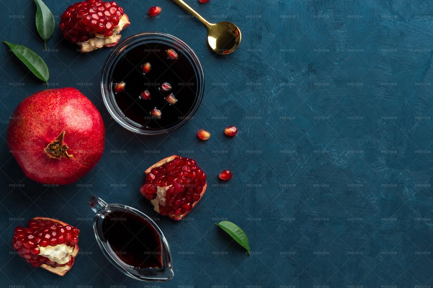 Sauce Made From Pomegranates: Stock Photos
